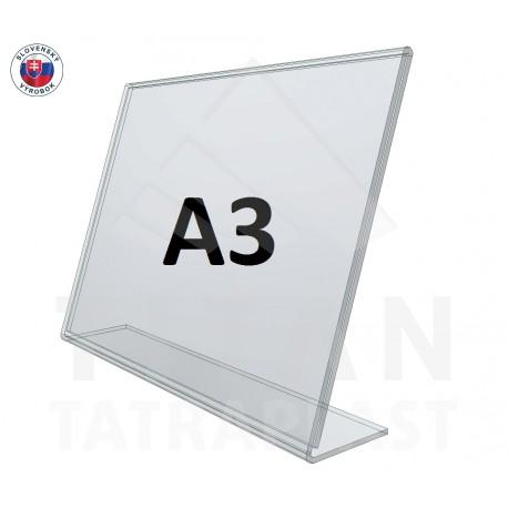 L - stojan z plexiskla A3